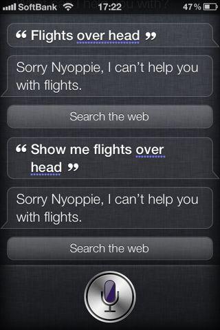 Siri で flights overhead